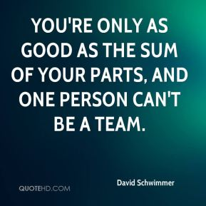 David Schwimmer - You're only as good as the sum of your parts, and one person can't be a team.