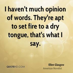Ellen Glasgow - I haven't much opinion of words. They're apt to set fire to a dry tongue, that's what I say.