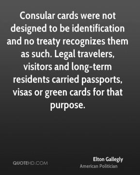 Consular cards were not designed to be identification and no treaty recognizes them as such. Legal travelers, visitors and long-term residents carried passports, visas or green cards for that purpose.