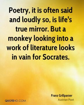 Poetry, it is often said and loudly so, is life's true mirror. But a monkey looking into a work of literature looks in vain for Socrates.