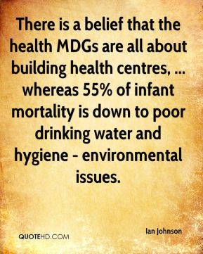 There is a belief that the health MDGs are all about building health centres, ... whereas 55% of infant mortality is down to poor drinking water and hygiene - environmental issues.