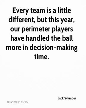 Jack Schrader - Every team is a little different, but this year, our perimeter players have handled the ball more in decision-making time.