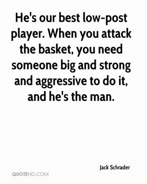 Jack Schrader - He's our best low-post player. When you attack the basket, you need someone big and strong and aggressive to do it, and he's the man.