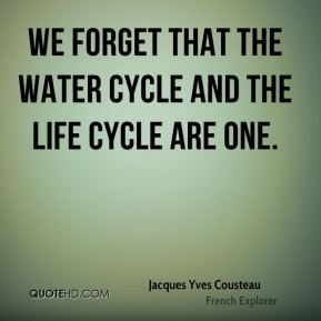 We forget that the water cycle and the life cycle are one.