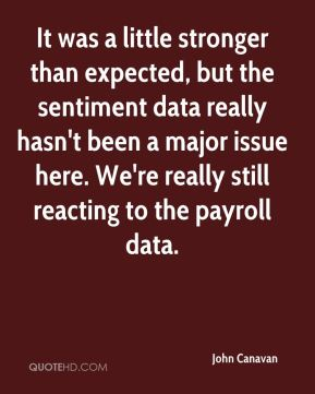 It was a little stronger than expected, but the sentiment data really hasn't been a major issue here. We're really still reacting to the payroll data.