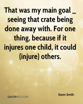 That was my main goal _ seeing that crate being done away with. For one thing, because if it injures one child, it could (injure) others.