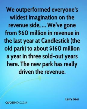 Larry Baer  - We outperformed everyone's wildest imagination on the revenue side, ... We've gone from $60 million in revenue in the last year at Candlestick (the old park) to about $160 million a year in three sold-out years here. The new park has really driven the revenue.