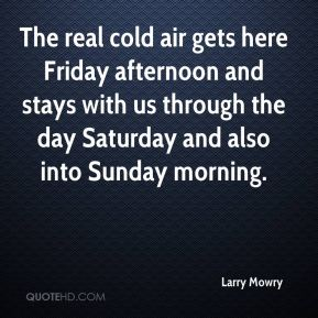 The real cold air gets here Friday afternoon and stays with us through the day Saturday and also into Sunday morning.