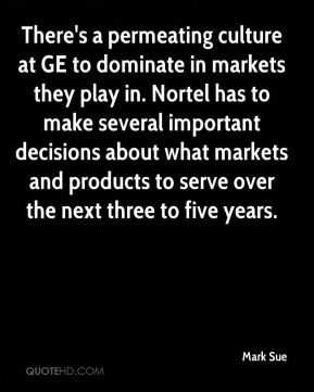 Mark Sue  - There's a permeating culture at GE to dominate in markets they play in. Nortel has to make several important decisions about what markets and products to serve over the next three to five years.