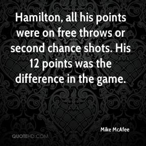 Mike McAfee  - Hamilton, all his points were on free throws or second chance shots. His 12 points was the difference in the game.