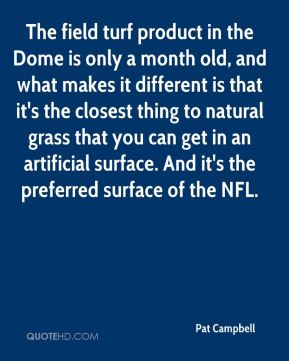 The field turf product in the Dome is only a month old, and what makes it different is that it's the closest thing to natural grass that you can get in an artificial surface. And it's the preferred surface of the NFL.
