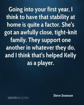 Steve Swanson  - Going into your first year, I think to have that stability at home is quite a factor. She's got an awfully close, tight-knit family. They support one another in whatever they do, and I think that's helped Kelly as a player.