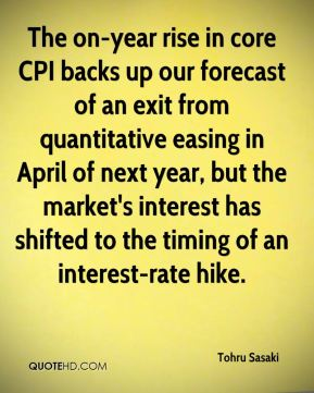 The on-year rise in core CPI backs up our forecast of an exit from quantitative easing in April of next year, but the market's interest has shifted to the timing of an interest-rate hike.