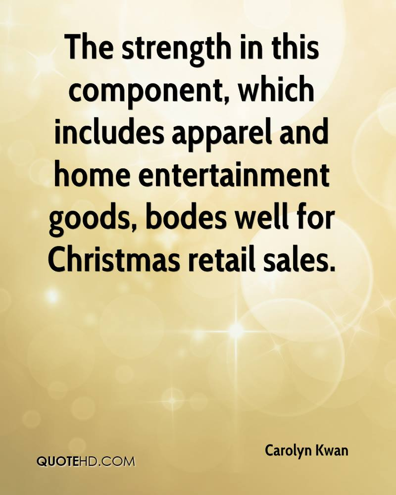 The strength in this component, which includes apparel and home entertainment goods, bodes well for Christmas retail sales.
