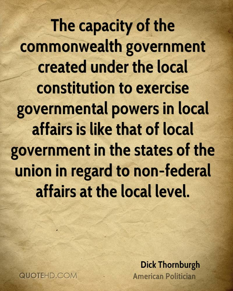 The capacity of the commonwealth government created under the local constitution to exercise governmental powers in local affairs is like that of local government in the states of the union in regard to non-federal affairs at the local level.