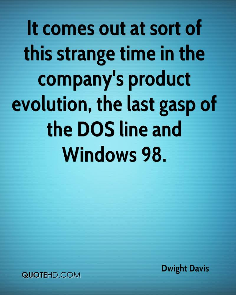 It comes out at sort of this strange time in the company's product evolution, the last gasp of the DOS line and Windows 98.