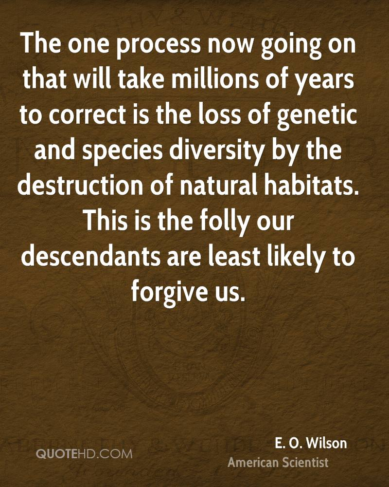 The one process now going on that will take millions of years to correct is the loss of genetic and species diversity by the destruction of natural habitats. This is the folly our descendants are least likely to forgive us.