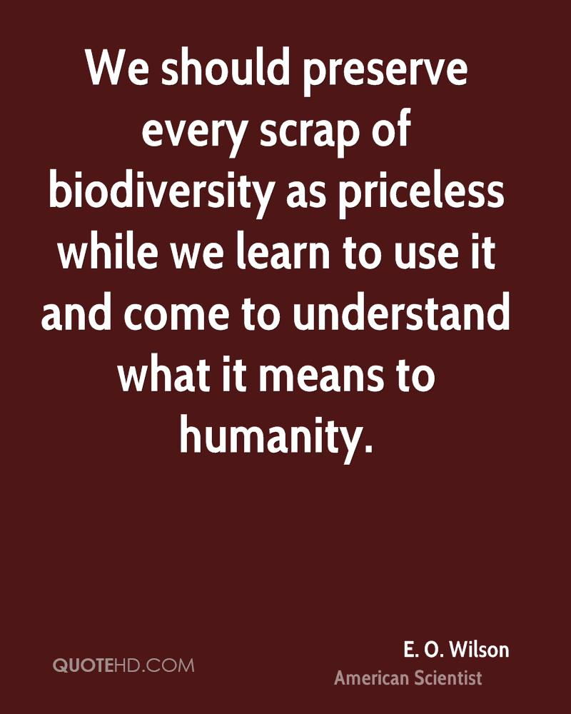 We should preserve every scrap of biodiversity as priceless while we learn to use it and come to understand what it means to humanity.