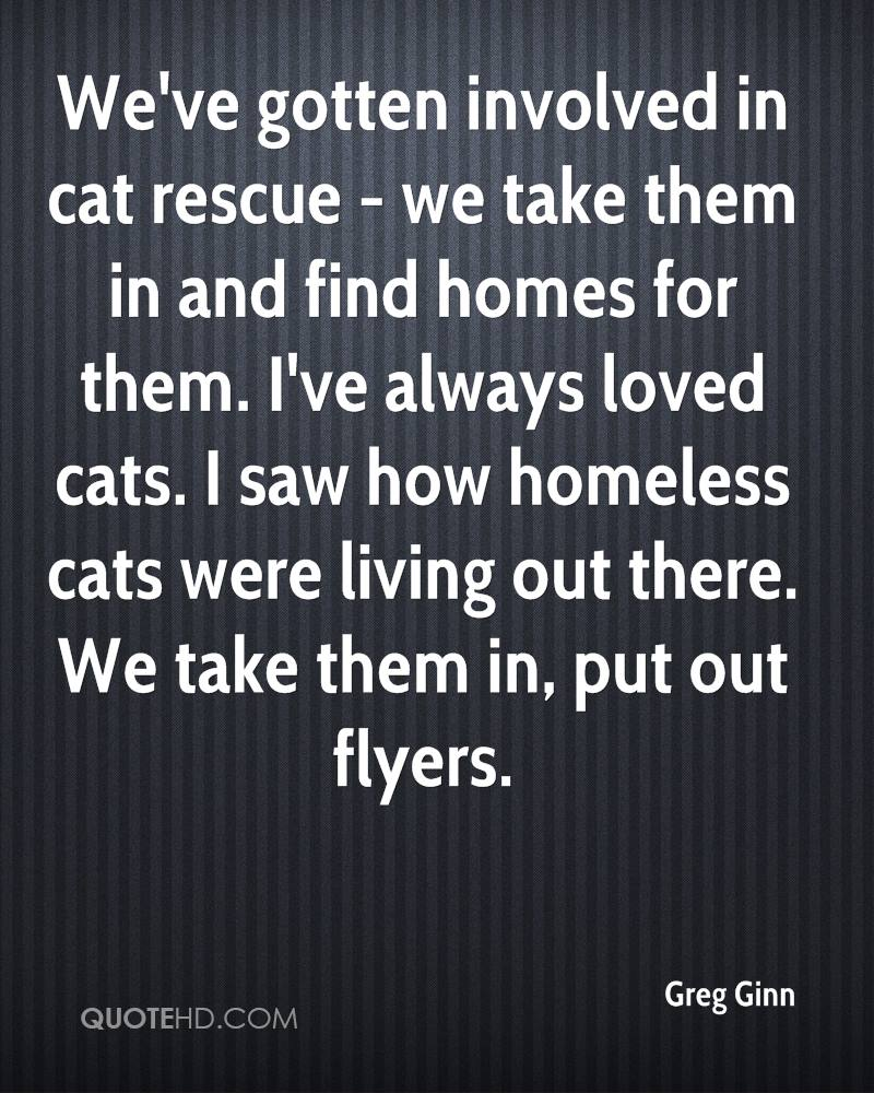 We've gotten involved in cat rescue - we take them in and find homes for them. I've always loved cats. I saw how homeless cats were living out there. We take them in, put out flyers.