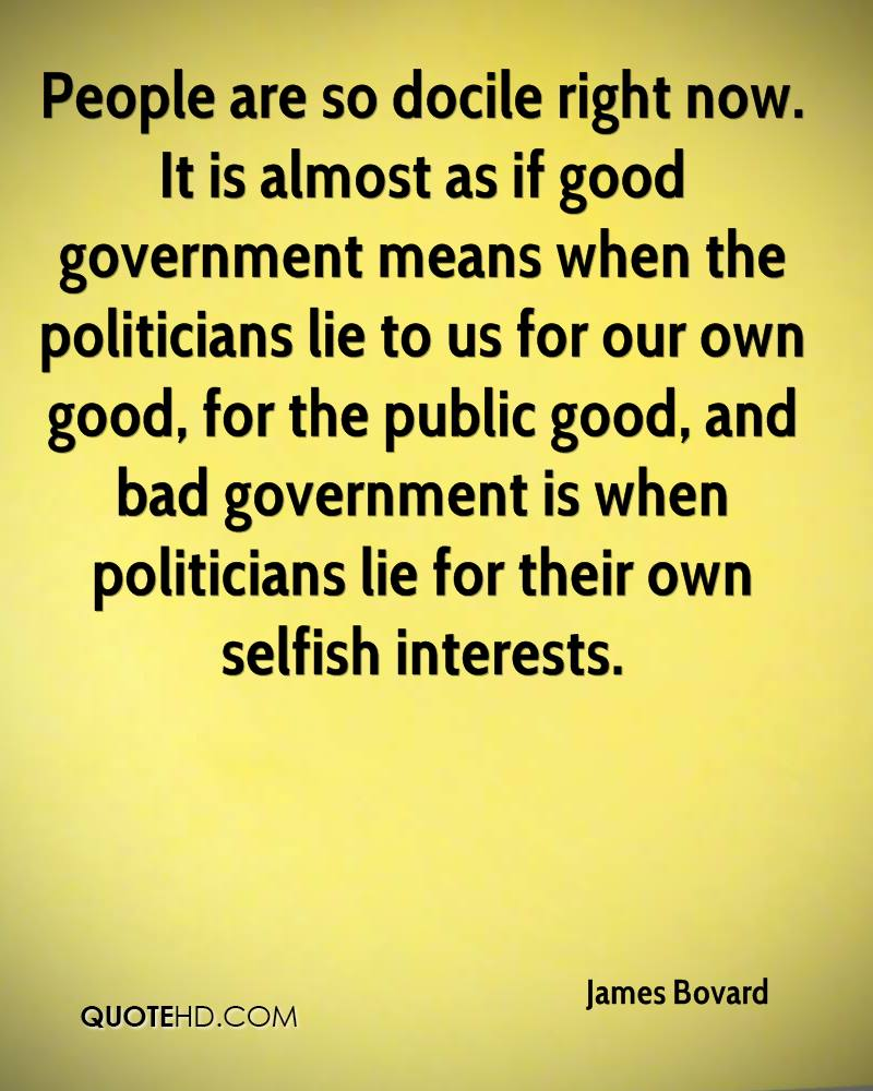 People are so docile right now. It is almost as if good government means when the politicians lie to us for our own good, for the public good, and bad government is when politicians lie for their own selfish interests.