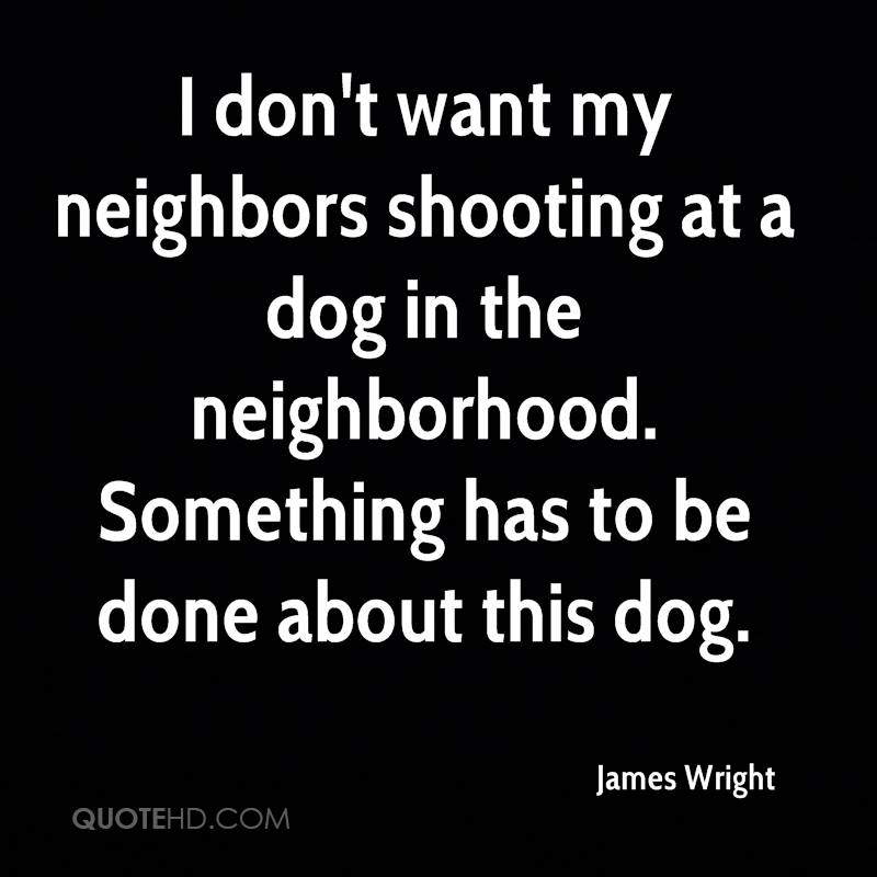 I don't want my neighbors shooting at a dog in the neighborhood. Something has to be done about this dog.