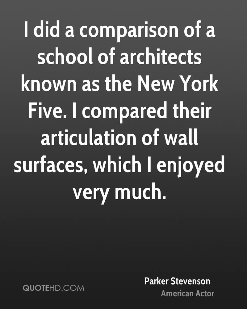 I did a comparison of a school of architects known as the New York Five. I compared their articulation of wall surfaces, which I enjoyed very much.