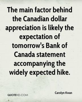 Carolyn Kwan - The main factor behind the Canadian dollar appreciation is likely the expectation of tomorrow's Bank of Canada statement accompanying the widely expected hike.