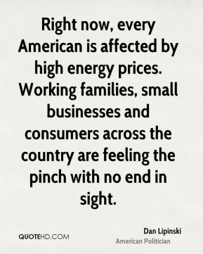 Dan Lipinski - Right now, every American is affected by high energy prices. Working families, small businesses and consumers across the country are feeling the pinch with no end in sight.