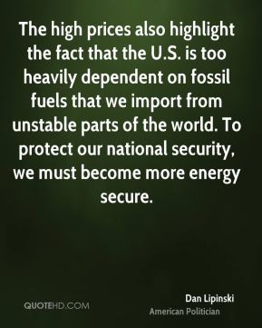 The high prices also highlight the fact that the U.S. is too heavily dependent on fossil fuels that we import from unstable parts of the world. To protect our national security, we must become more energy secure.