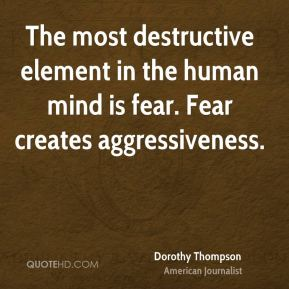 The most destructive element in the human mind is fear. Fear creates aggressiveness.