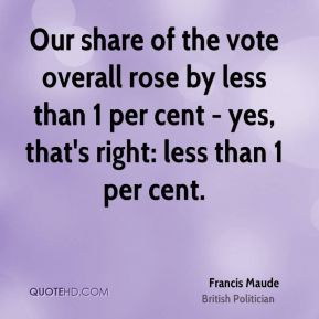 Francis Maude - Our share of the vote overall rose by less than 1 per cent - yes, that's right: less than 1 per cent.