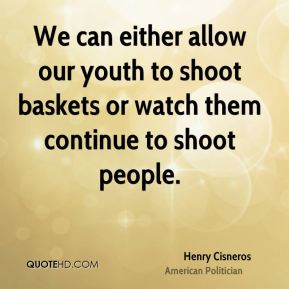 We can either allow our youth to shoot baskets or watch them continue to shoot people.