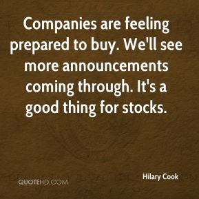 Companies are feeling prepared to buy. We'll see more announcements coming through. It's a good thing for stocks.