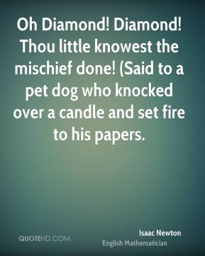 Isaac Newton - Oh Diamond! Diamond! Thou little knowest the mischief done! (Said to a pet dog who knocked over a candle and set fire to his papers.