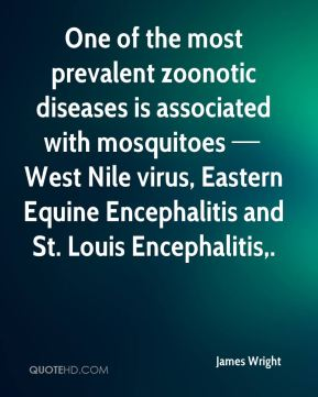 One of the most prevalent zoonotic diseases is associated with mosquitoes — West Nile virus, Eastern Equine Encephalitis and St. Louis Encephalitis.