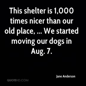This shelter is 1,000 times nicer than our old place, ... We started moving our dogs in Aug. 7.