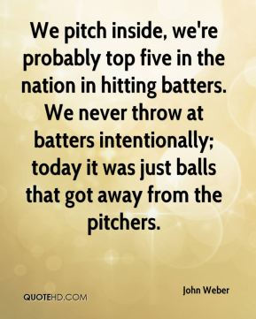 John Weber  - We pitch inside, we're probably top five in the nation in hitting batters. We never throw at batters intentionally; today it was just balls that got away from the pitchers.