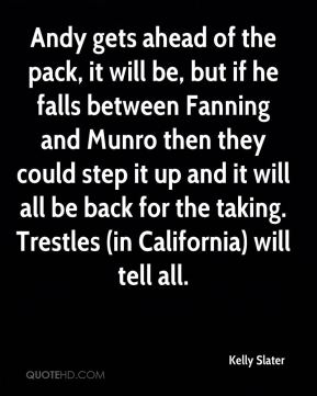 Andy gets ahead of the pack, it will be, but if he falls between Fanning and Munro then they could step it up and it will all be back for the taking. Trestles (in California) will tell all.