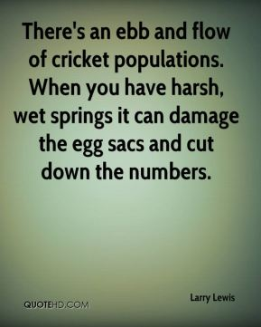 Larry Lewis  - There's an ebb and flow of cricket populations. When you have harsh, wet springs it can damage the egg sacs and cut down the numbers.