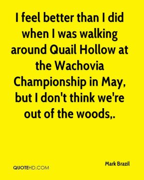 Mark Brazil  - I feel better than I did when I was walking around Quail Hollow at the Wachovia Championship in May, but I don't think we're out of the woods.