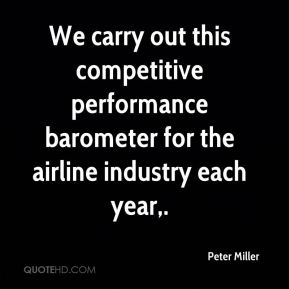 We carry out this competitive performance barometer for the airline industry each year.