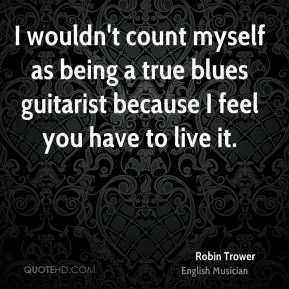 I wouldn't count myself as being a true blues guitarist because I feel you have to live it.