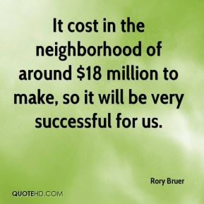 It cost in the neighborhood of around $18 million to make, so it will be very successful for us.