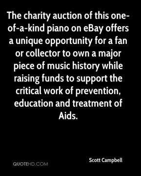 The charity auction of this one-of-a-kind piano on eBay offers a unique opportunity for a fan or collector to own a major piece of music history while raising funds to support the critical work of prevention, education and treatment of Aids.