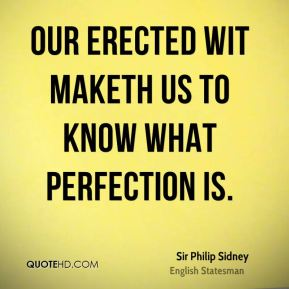 Sir Philip Sidney  - Our erected wit maketh us to know what perfection is.