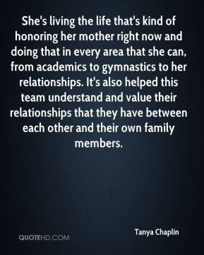 She's living the life that's kind of honoring her mother right now and doing that in every area that she can, from academics to gymnastics to her relationships. It's also helped this team understand and value their relationships that they have between each other and their own family members.