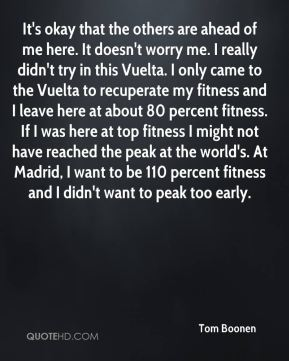 It's okay that the others are ahead of me here. It doesn't worry me. I really didn't try in this Vuelta. I only came to the Vuelta to recuperate my fitness and I leave here at about 80 percent fitness. If I was here at top fitness I might not have reached the peak at the world's. At Madrid, I want to be 110 percent fitness and I didn't want to peak too early.