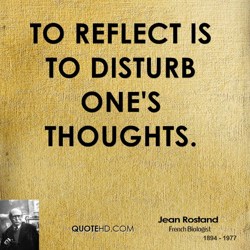 To reflect is to disturb one's thoughts.