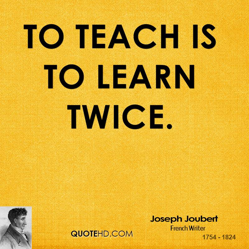 The Upward Trend Blog: To Teach Is To Learn Twice