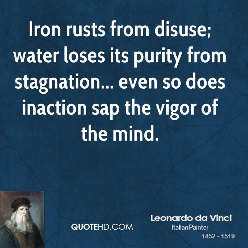 Iron rusts from disuse; water loses its purity from stagnation... even so does inaction sap the vigor of the mind.